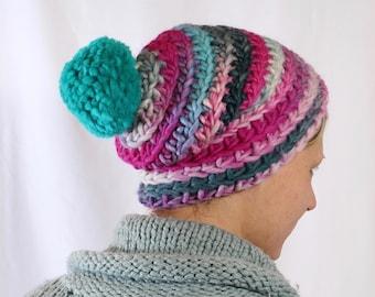 crochet beanie with green pompom