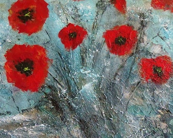 "Poppies Fine Art Giclee Print Picture - Poppies Rock (8""), Original Artwork by Tracey Zorek"