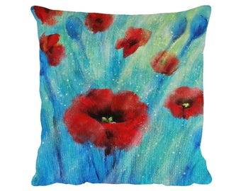 """Sunlit Poppies Cushion, Faux Suede Premium 18"""" x 18"""" Pillow with Pad - Tracey Zorek Art"""