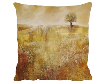 """Autumn Landscape Cushion, Faux Suede Premium 18"""" x 18"""" Pillow with Pad - Tracey Zorek Art"""
