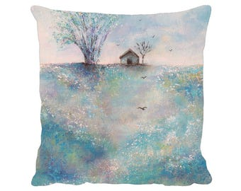 """Across the Meadow Cushion, Faux Suede Premium 18"""" x 18"""" Pillow with Pad - Tracey Zorek Art"""