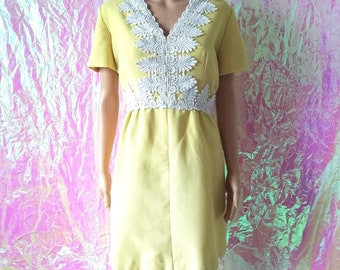 438344497f01 VINTAGE 1960s Canary Yellow Embroidered Dress by Carrie Couture UK10-12