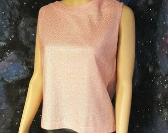 VINTAGE 1960s Baby Pink Silver Lurex Sparkly Sleeveless Top Small FREEUKP&P