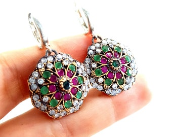 Red Ruby Earrings 925 Sterling Silver Earrings Bridal Earrings Turkish Handmade Ottoman Earrings Zirconia Stone Gift for Women