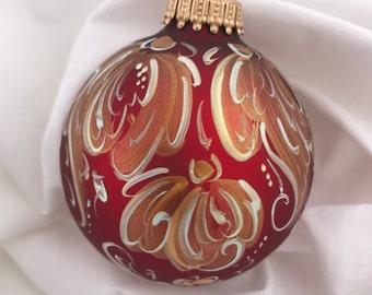 handpainted christmas ornament norwegian rosemaling matte red cascasding flowers handpainted ornaments christmas bulb christmas ball - Norwegian Christmas Decorations