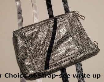 Faux Snake Skin Cellphone Crossbody Bag with Hand-dyed lining