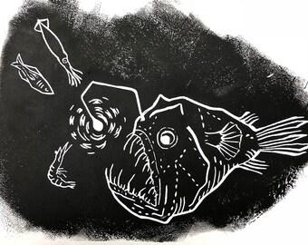 Anglerfish deep sea print