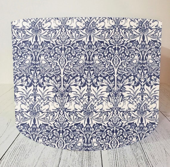 MADE TO ORDER LAMPSHADE WILLIAM MORRIS BRER RABBIT SMALL PRINT BLUE WHITE