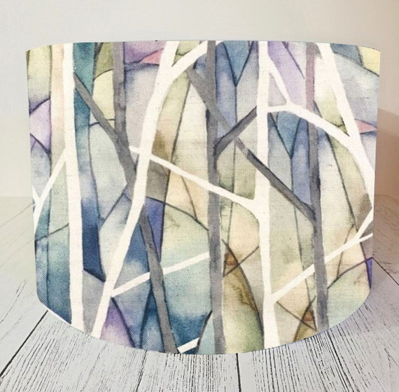 Handmade Fabric Lampshade /'INTO THE WOODS/' Green Patchwork Fields Light Shade