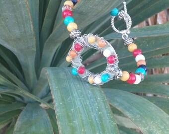 Boho beaded metal bracelet