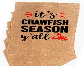 a0cd65402a1e1 Burlap Placemat Crawfish Season Yall Placemat Placemat farmhouse Louisiana  Crawfish Placemat