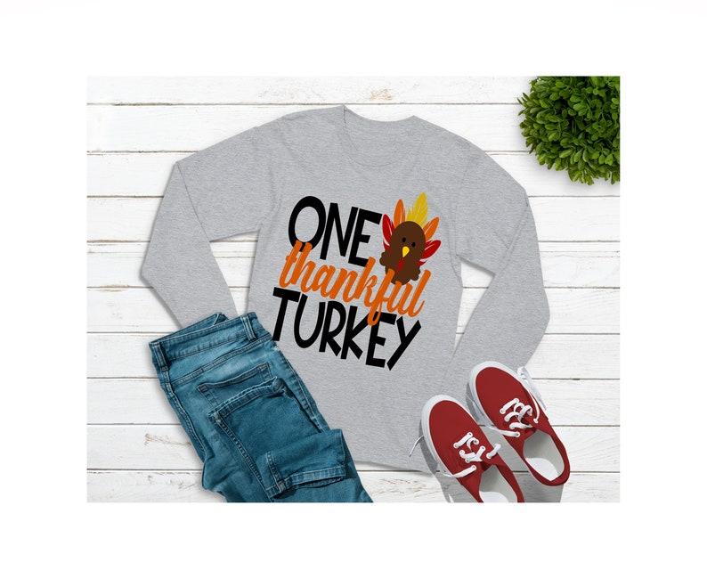 One Thankful Turkey Boy Girl Unisex Kid Long sleeve shirt Thanksgiving Turkey Shirt