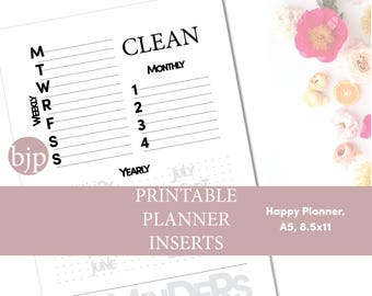 Cleaning Schedule, Multiple Sizes