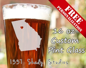 CUSTOM Athens Pint glass - Georgia Beer Glasses - Personalized FREE -  My Heart is in Athens