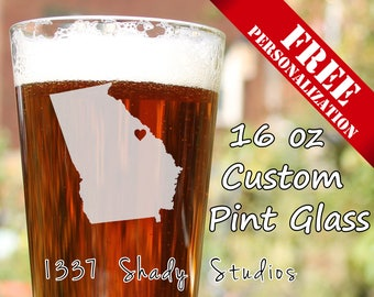 CUSTOM Augusta Pint glass - Georgia Beer Glasses - Personalized FREE -  My Heart is in Augusta