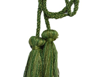 Conso 60365 I16 NATURAL GREEN CHAMPAGNE GOLD Decorative Double Tassel Chair Tie