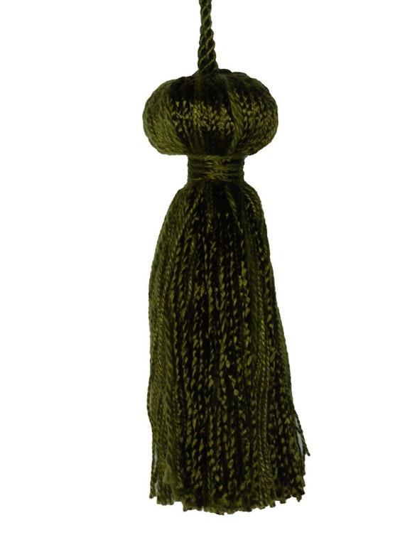 "Conso Empress 22949 V136 SANDSTONE GREEN APPLE Decorative 5/"" Tassel 4/"" Loop Cord"