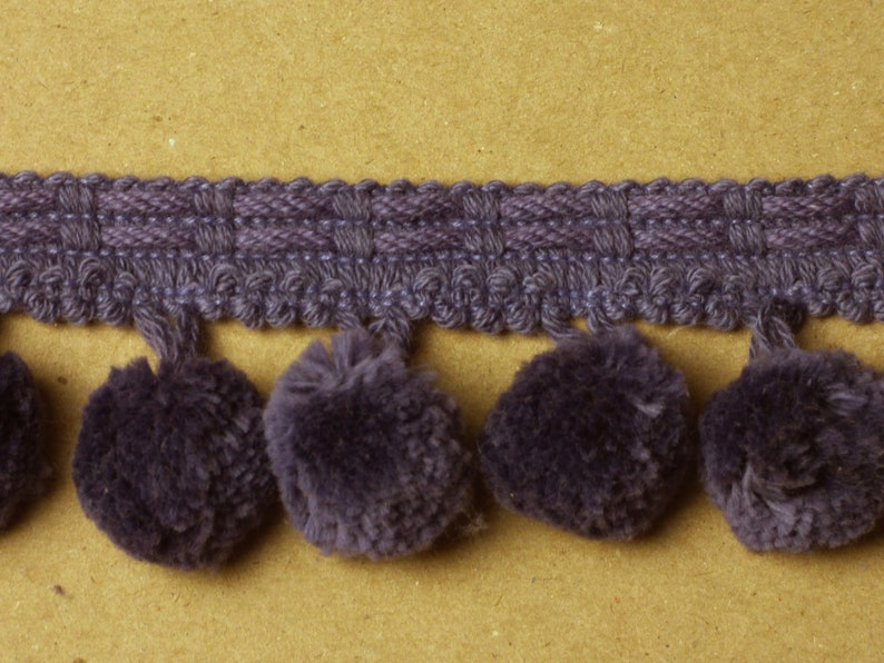 Sold by the yard Conso King Cotton Collection Style 22064 Color H17 PURPLE 2 Cotton Ball Trim with 1 Pom Pom Ball