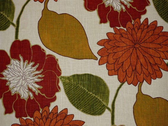 Richloom EMILY RUSSET Retro Floral Orange Home Decor Drapery Sewing Fabric BTY