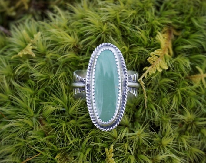 Royston Turquoise Feather Band Ring, Size 8