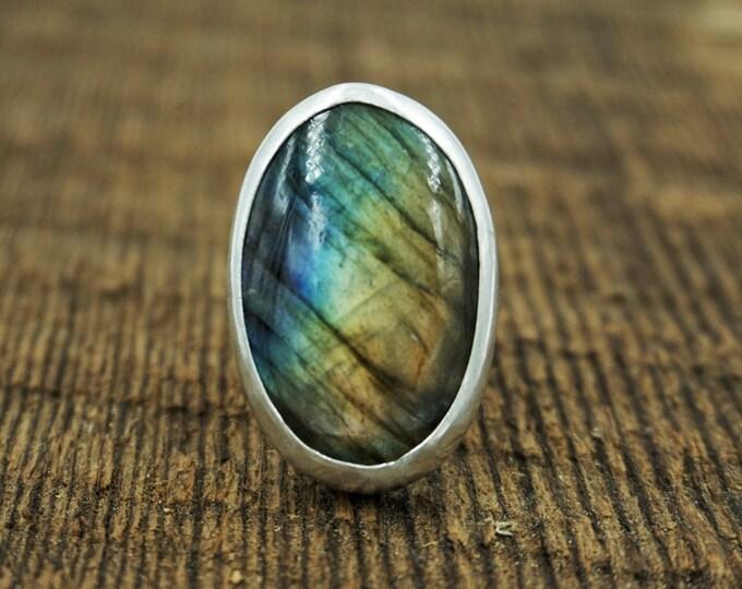 Labradorite Silver Ring, Size 9 3/4