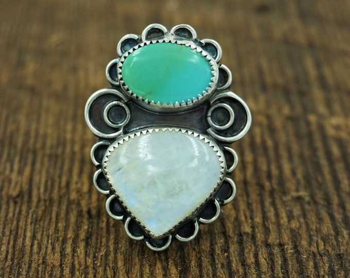 Royston Turquoise and Moonstone Mermaid Ring, Size 10 1/2