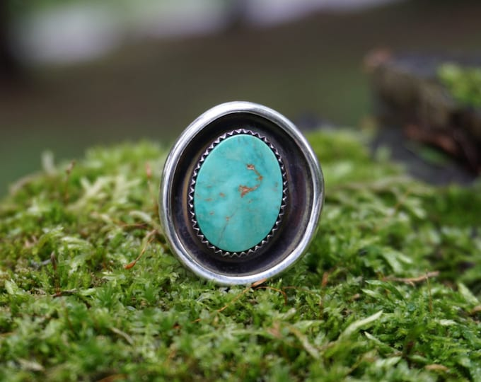 Pilot Mountain Turquoise Shadowbox Silver Ring Size 7 1/2