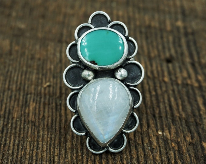 Royston Turquoise & Moonstone Mermaid Ring, Size 7 3/4