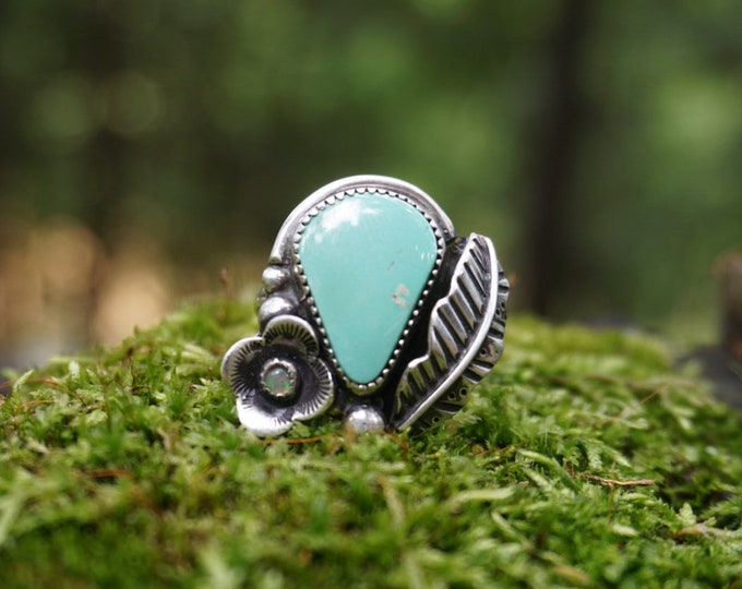 Pilot Mountain Turquoise Feather Ring, Size 10