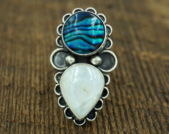 Abalone and Moonstone Silver Mermaid Ring, Size 7 1/2