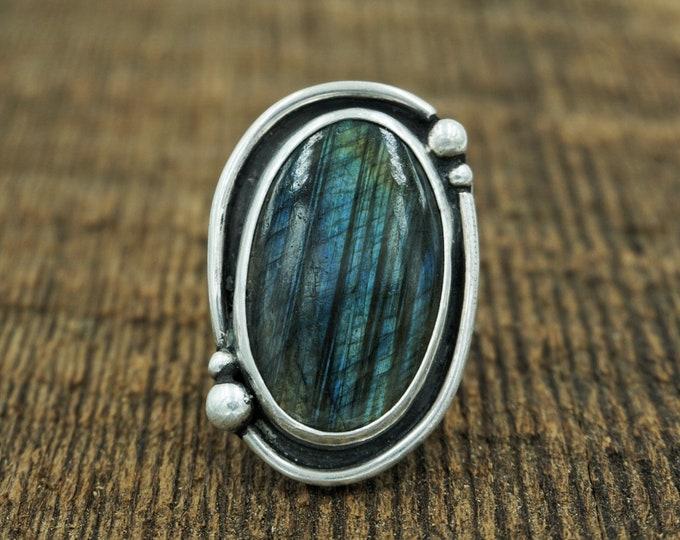 Labradorite Silver Ring, Size 7 1/2