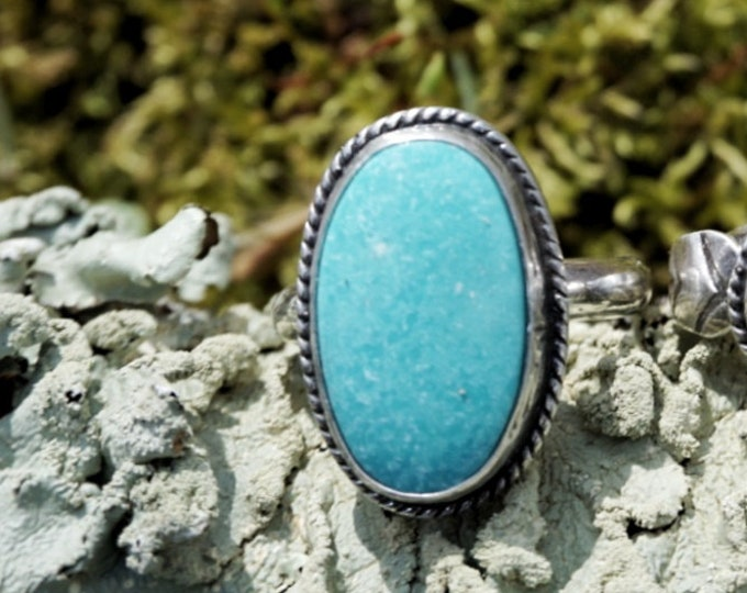 Oval Turquoise Mountain Ring, Size 7