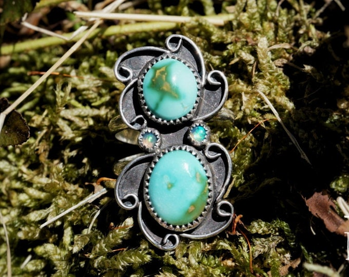 Royston Turquoise, Double Stone, Double Silver Ring Band, with Opals, Turquoise Sterling Silver Ring