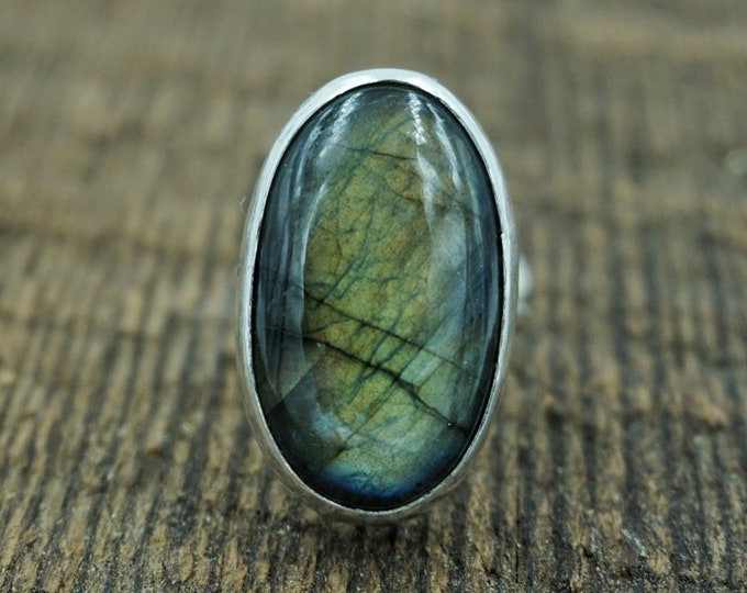 Labradorite Silver Ring, Size 8 1/2