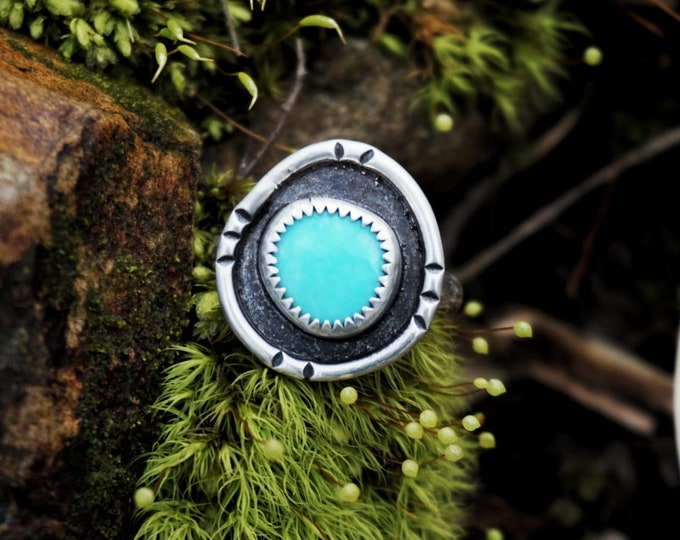 Turquoise Trail Shield, Size 7