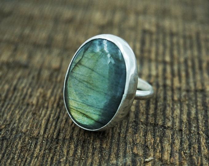 Labradorite Silver Ring, Size 6 1/2