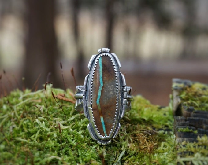 Royston Ribbon River Ring, Turquoise Feather Ring, Feather Band, Turquoise Silver Ring, Royston Turquoise Silver Ring, Feather rings