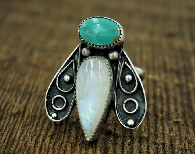 Royston Turquoise and Moonstone Critter Ring, Size 10