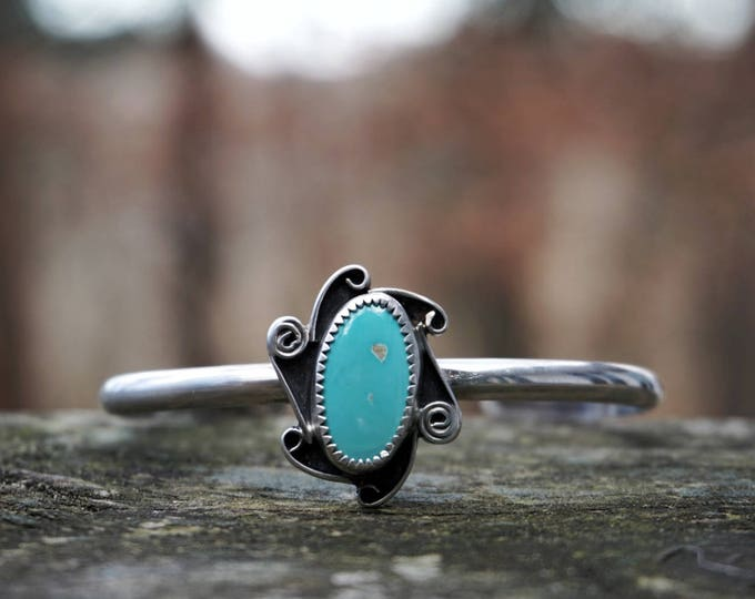 Natural Pilot Mountain Turquoise Swirly Silver Cuff Bracelet, Turquoise Sterling Silver Cuff, Turquoise Silver bracelet