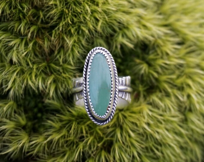 Royston Turquoise Feather Band Ring, Size 7