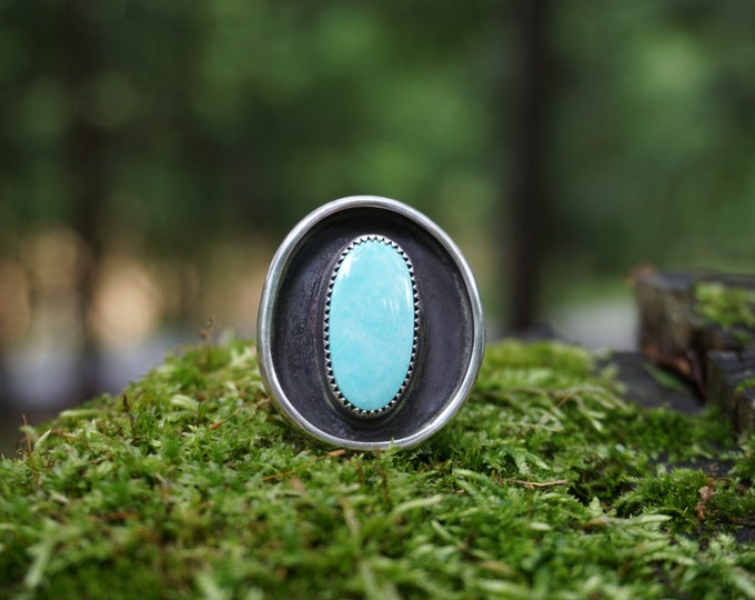 Pilot Mountain Turquoise Oval Shadowbox Ring, Size 9 1/2