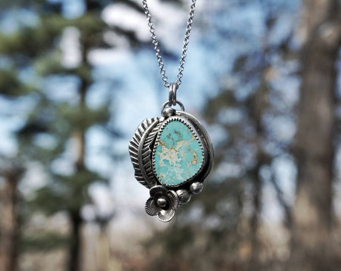 Natural Turquoise, Sterling Silver Feathers and Flowers Pendant Necklace, Turquoise Sterling Silver Necklace, Turquoise Silver Pendant