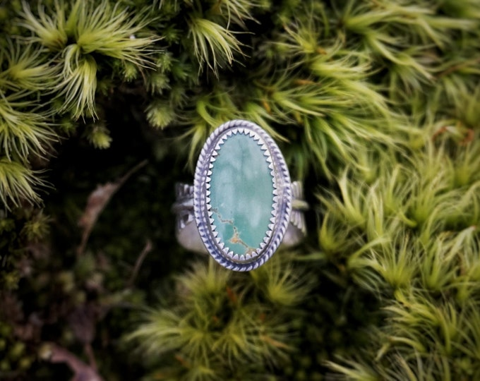 Royston Turquoise Feather Band Ring, Size 7 1/2