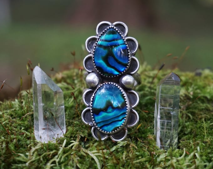 Blue Electric Hand, Abalone Ring