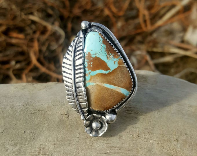 Natural Royston Turquoise Silver Feather Ring, Stamped Wide Band, Turquoise Sterling Silver Ring, Turquoise Statement Ring,Turquoise Feather