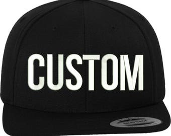 ecb2eb21 Custom Embroidery Premium Snapback with 3D Puff Lettering (Yupoong Classics)