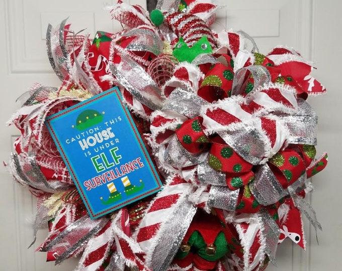 Christmas Elf Wreath, Elf Wreath, Christmas Wreath, Holiday Wreath, Holiday Elf Wreath, Front Door Wreath
