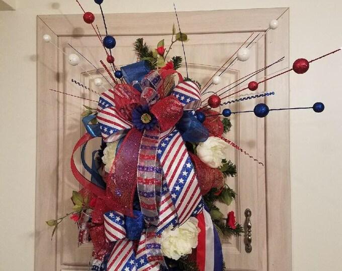 Patriotic Swag, 4th of July Swag, Red,White&Blue Swag, Celebrate America Swag, American Pride Swag