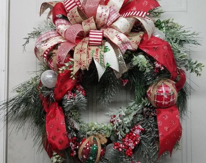 Christmas Wreath, Winter Wreath, Holiday Wreath, Fabulous Big Bow Wreath, Christmas Greenery Wreath, Christmas Decor, Holiday Door Decor,