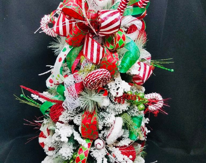Christmas Tree, Whimsical Christmas Tree, Whimsical Tree Decor, Christmas Tree Topper, Christmas Tree Decor, Ribbon Christmas Tree